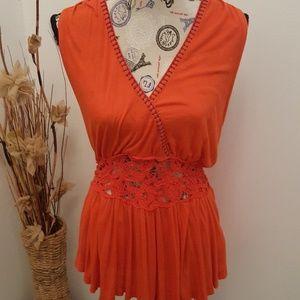 Free People Orange & Blue Sleeveless Tunic Top